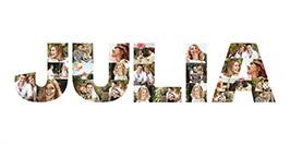 Collage photos sur toile en forme de lettres