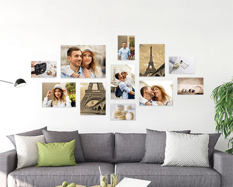 Mur de 11 photos dans le salon