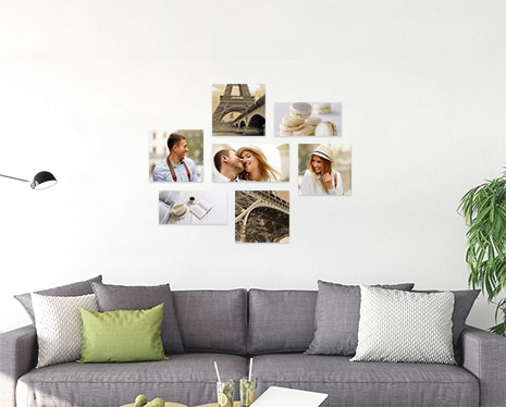 Mur de 7 photos dans le salon