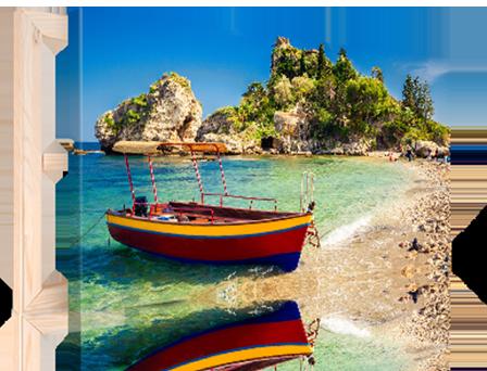 plage avec bateau sur toile